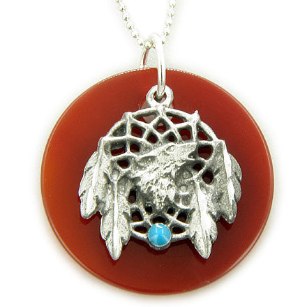 Amulet Protection Carnelian Wolf Dream Catcher Pendant Necklace