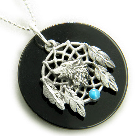 Amulet Spiritual Onyx Wolf Dream Catcher Pendant Silver Necklace