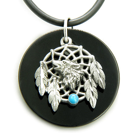 Amulet Spiritual Onyx Wolf Magic Dream Catcher Circle Necklace