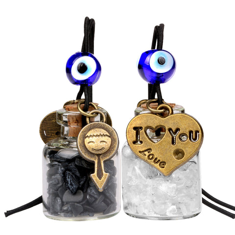 Love Couple I Love You Heart Small Car Charms or Home Decor Bottles Quartz Black Obsidian Amulets
