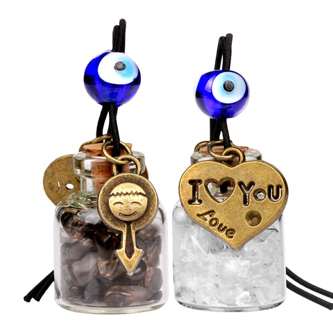 Love Couple I Love You Heart Small Car Charms or Home Decor Bottles Smoky Rock Quartz Amulets