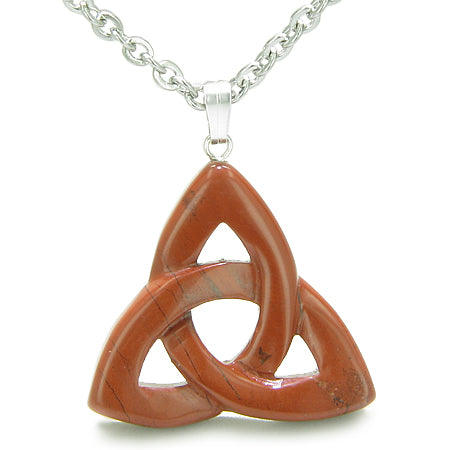 Celtic Triquetra Knot Magic Amulet Red Jasper Believe Powers Gemstone Pendant Necklace