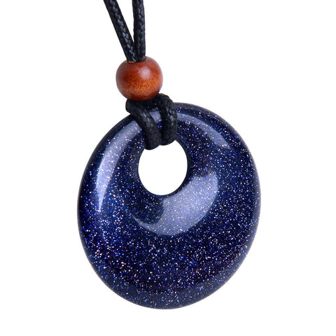 Amulet Large Medallion Circle Coin Go-Go Donut Protection Magical Powers Blue Goldstone Charm Necklace