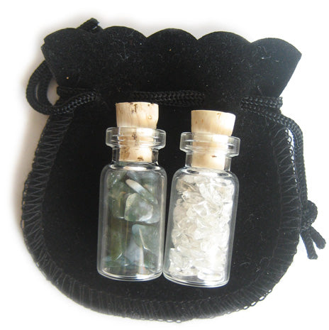 Agate Green Moss Good Luck Talisman Bottles