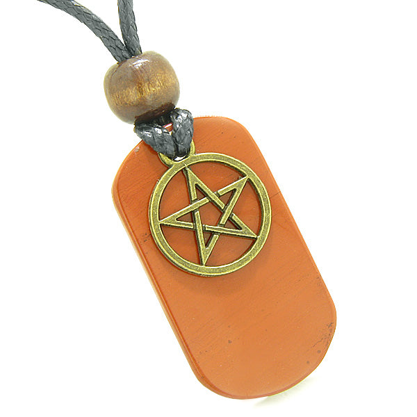 Amulet Magical Pentacle Star Energy Protection Powers Tag Red Jasper Pendant Necklace