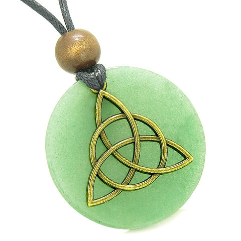 Celtic Triquetra Protection Knot Magic Powers Amulet Green Quartz Medallion Pendant Necklace