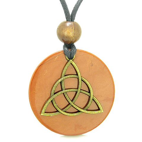Celtic Triquetra Protection Knot Magic Powers Amulet Red Jasper Medallion Pendant Necklace
