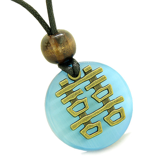 Double Happiness Feng Shui Amulet Fortune Powers Sky Blue Cats Eye