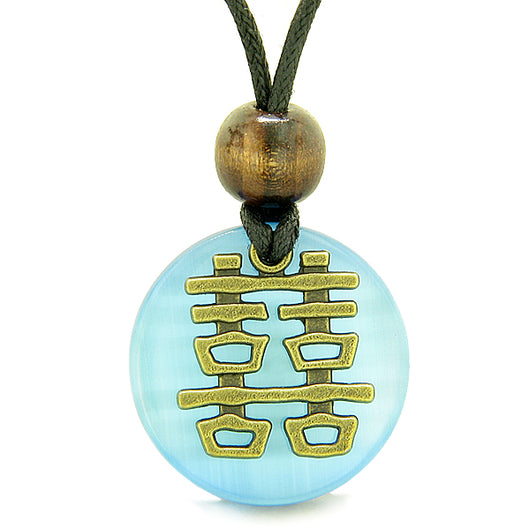 Double happiness feng shui amulet fortune powers sky blue cats eye double happiness feng shui amulet fortune powers sky blue cats eye coin medallion pendant necklace aloadofball Choice Image