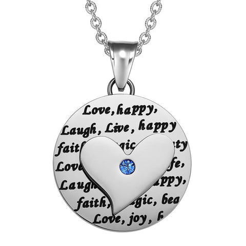 Adorable Heart Inspirational Medallion Live Love Laugh Faith Amulet Royal Blue Crystal 22 Inch Necklace