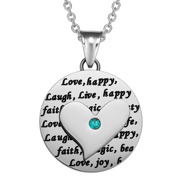 Adorable Heart Inspirational Medallion Live Love Laugh Faith Amulet Mint Green Crystal 18 Inch Necklace