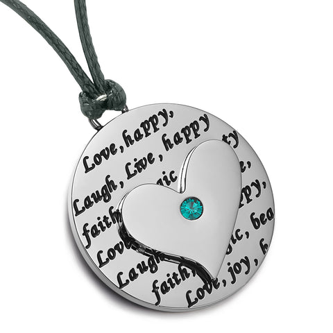 Heart Inspirational Medallions Live Laugh Love Couples or Best Friends Amulets Green Blue Cord Necklaces