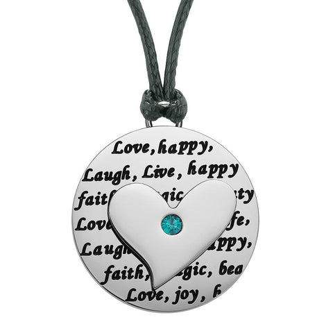 Adorable Heart Inspirational Medallion Live Love Laugh Faith Amulet Mint Green Crystal Cord Necklace