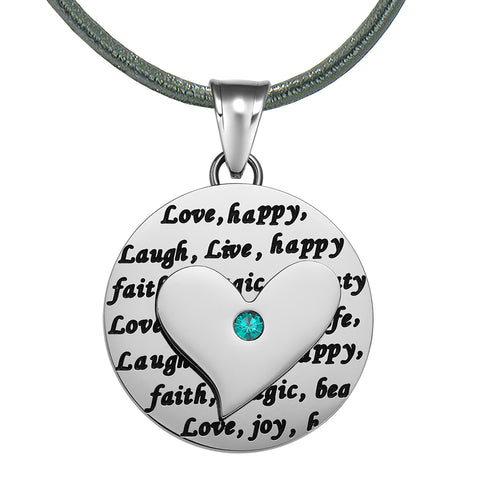Adorable Heart Inspirational Medallion Live Love Laugh Faith Amulet Mint Green Crystal Leather Necklace
