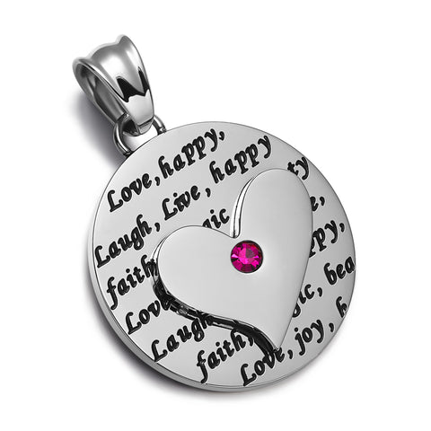 Adorable Heart Inspirational Medallion Live Love Laugh Faith Amulet Fuchsia Pink Crystal 22 Inch Necklace