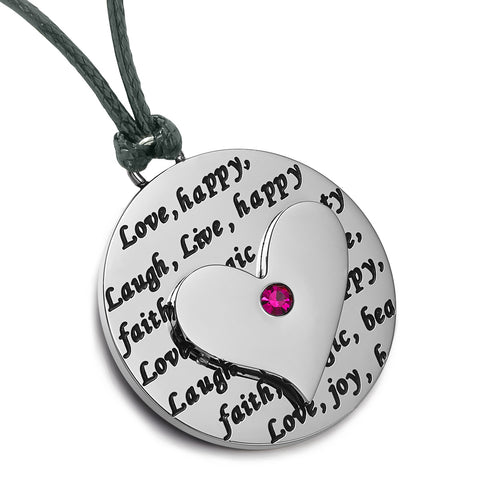 Adorable Heart Inspirational Medallion Live Love Laugh Faith Amulet Fuchsia Pink Crystal Cord Necklace