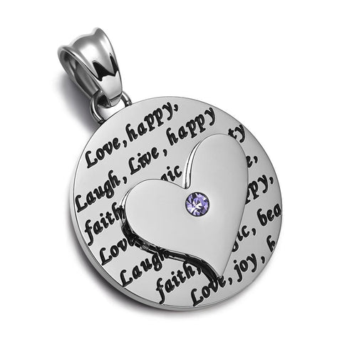 Adorable Heart Inspirational Medallion Live Love Laugh Faith Amulet Cute Purple Crystal Leather Necklace
