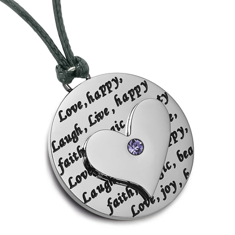 Heart Inspirational Medallions Live Laugh Love Couples or Best Friends Amulets Blue Purple Cord Necklaces