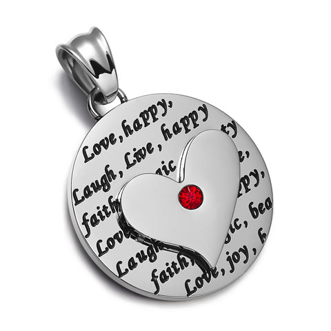 Heart Inspirational Medallions Live Laugh Love Couples or Best Friends Amulets Cute Purple Red Necklaces