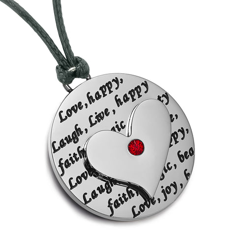 Heart Inspirational Medallions Live Laugh Love Couples or Best Friends Amulets Purple Red Cord Necklaces