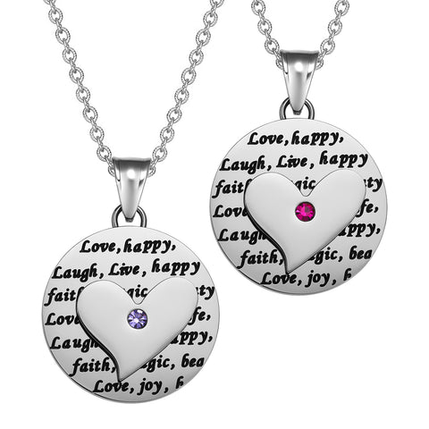 Heart Inspirational Medallions Live Laugh Love Couples or Best Friends Amulets Cute Purple Pink Necklaces