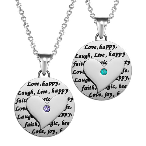 Heart Inspirational Medallions Live Laugh Love Couples or Best Friends Amulet Mint Green Purple Necklaces