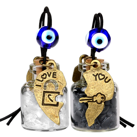 Heart Key Lock Halfs Love Couples Small Car Charms Home Decor Bottles Quartz Black Obsidian Amulets