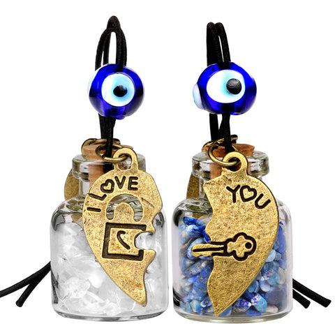 Heart Key Lock Halfs Love Couples Small Car Charms Home Decor Bottles Lapis Lazuli Quartz Amulets
