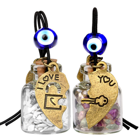 Heart Key Lock Halfs Love Couples Small Car Charms Home Decor Gem Bottles Fluorite Howlite Amulets