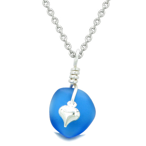 Twisted Twincies Heart Small Frosted Sea Glass Lucky Charms Handcrafted Ocean Blue 18 Inch Necklace