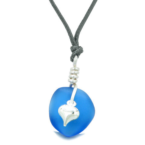Twisted Twincies Heart Small Frosted Sea Glass Lucky Charms Handcrafted Ocean Blue Adjustable Necklace