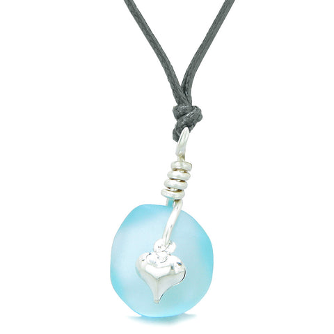 Twisted Twincies Heart Small Frosted Sea Glass Lucky Charms Handcrafted Sky Blue Adjustable Necklace