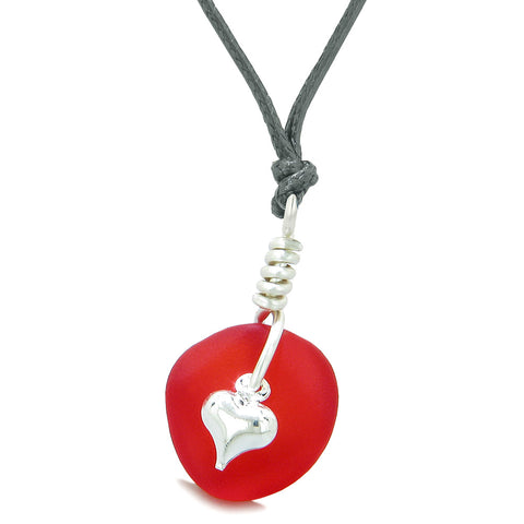 Twisted Twincies Heart Small Frosted Sea Glass Lucky Charms Handcrafted Royal Red Adjustable Necklace
