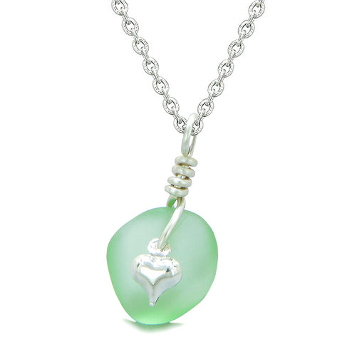 Twisted Twincies Heart Small Frosted Sea Glass Lucky Charms Handcrafted Mint Green 18 Inch Necklace