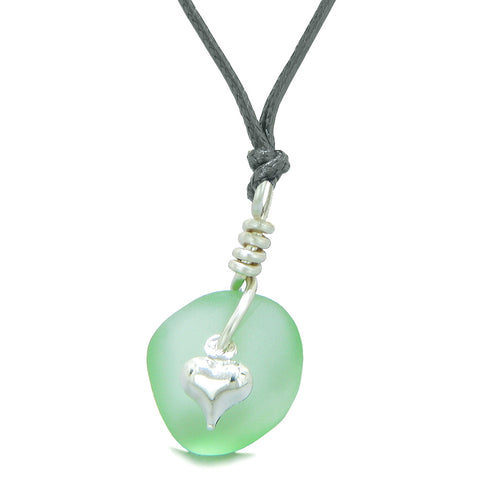 Twisted Twincies Heart Small Frosted Sea Glass Lucky Charms Handcrafted Mint Green Adjustable Necklace