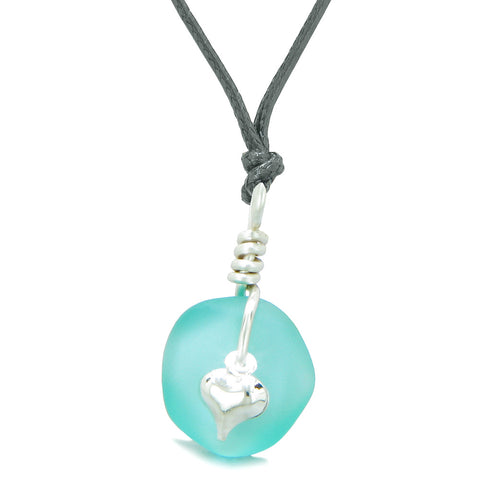 Twisted Twincies Heart Small Frosted Sea Glass Lucky Charms Handcrafted Aqua Blue Adjustable Necklace