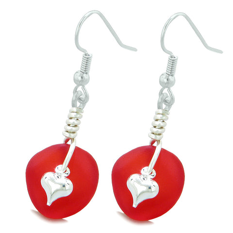 Twisted Twincies Cute Frosted Sea Glass Good Luck Heart Charms Royal Red Amulet Earrings