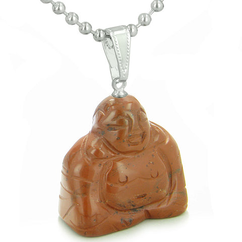 Good Luck Charm Happy Sitting Buddha Amulet Red Jasper Gemstone Believe Powers Pendant Necklace