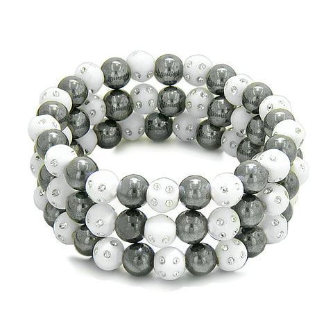 Amulets Set of 3 Individual Simulated Hematite Magnetic Bracelets in White Sparkling Beads Crystals