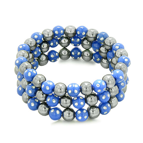 Amulets Set of 3 Individual Simulated Hematite Magnetic Bracelets Midnight Blue Sparkling Crystals