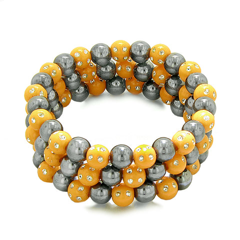 Amulets Set of 3 Individual Simulated Hematite Magnetic Bracelets Orange Sparkling Beads Crystals