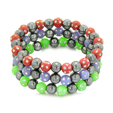 Amulets Set 3 Individual Simulated Hematite Magnetic Bracelets Red Purple Green Sparkling Crystals