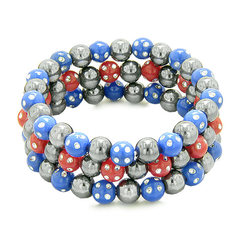 Amulets Set of 3 Simulated Hematite Magnetic Bracelets Midnight Blue Red Sparkling Crystals