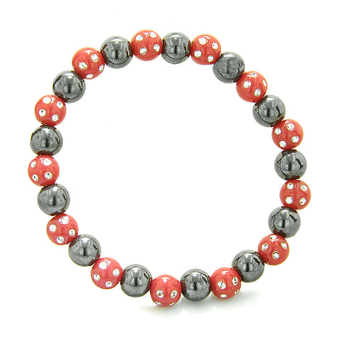 Amulets Set of 3 Individual Simulated Hematite Magnetic Bracelets in Red Green Sparkling Crystals