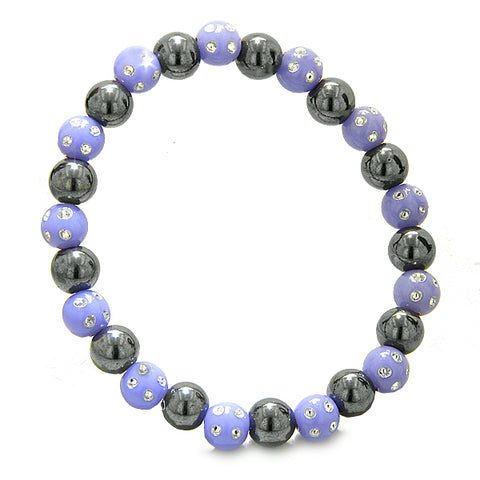 Amulets Set of 3 Individual Simulated Hematite Magnetic Bracelets Purple White Sparkling Crystals
