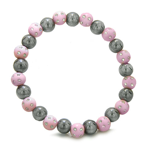 Amulets Set of 3 Individual Simulated Hematite Magnetic Bracelets in Baby-Pink Sparkling Crystals