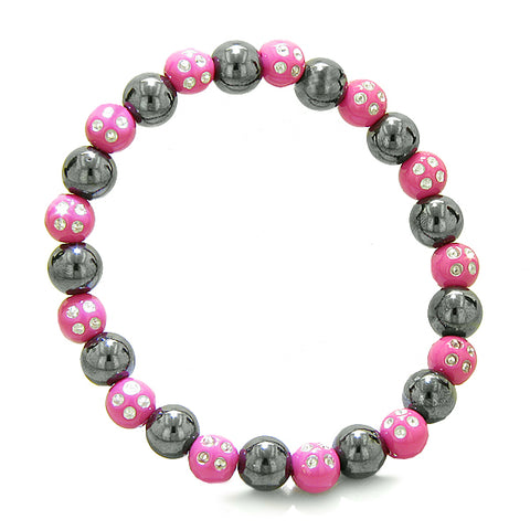 Amulets Set of 3 Individual Simulated Hematite Magnetic Bracelets Pink Hot Pink Sparkling Crystals