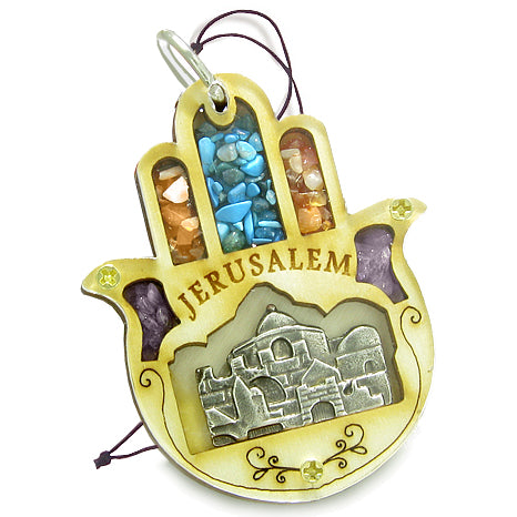 Holy Land Genuine Gemstones Amulet Jerusalem Good Luck Powers Hamsa Blessing Wooden Lucky Car Charm