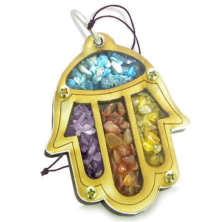 Holy Land Genuine Gemstone Amulet Good Luck Protection Powers Hamsa Blessing Wooden Lucky Car Charm