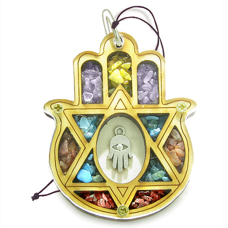 Holy Land Amulet Evil Eye Reflections King Solomon Star Hamsa Blessing Wooden Lucky Car Charm